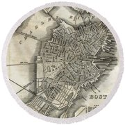 Boston Map Of 1842 Round Beach Towel