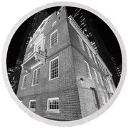 Boston Old State House Boston Ma Angle Black And White Round Beach Towel
