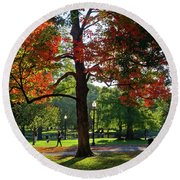 Boston Public Garden Autumn Tree Morning Light Walk In The Park Round Beach Towel