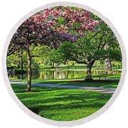 Boston Public Garden Pond Through The Cherry Blossom Spring Day Round Beach Towel