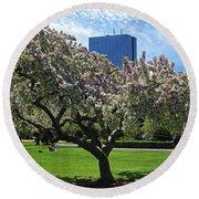 Boston Public Garden Spring Tree Boston Ma Round Beach Towel