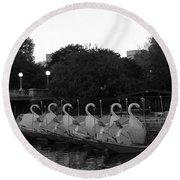 Boston Public Garden Swan Boats Round Beach Towel