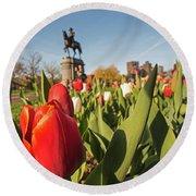 Boston Public Garden Tulips And George Washington Statue 2 Round Beach Towel