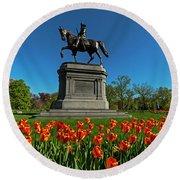Boston Public Garden Tulips Boston Ma Round Beach Towel