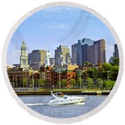 Boston Skyline Round Beach Towel by Elena Elisseeva
