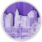 Boston Skyline - Graphic Art - Purple Round Beach Towel
