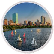 Boston Skyline Summer 2018 Round Beach Towel