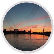 Boston Sunset Round Beach Towel