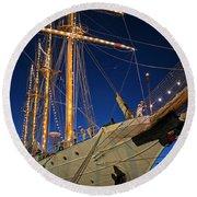 Boston Tall Ship Flags Boston Ma Sailors Blue Sky Round Beach Towel