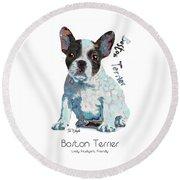Boston Terrier Pop Art Round Beach Towel