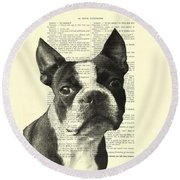 Boston Terrier Portrait In Black And White Round Beach Towel