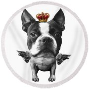 Boston Terrier, The King Round Beach Towel