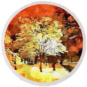 Boston Winter Round Beach Towel