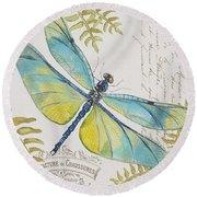 Botanical Dragonfly-jp3423b Round Beach Towel