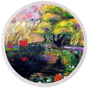 Botanical Garden In Lund Sweden Round Beach Towel
