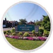 Botanical Gardens Floral Landscaped Entrance  Round Beach Towel