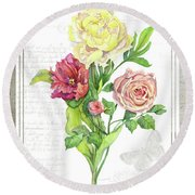 Botanical Vintage Style Watercolor Floral 3 - Peony Tulip And Rose With Butterfly Round Beach Towel