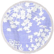 Botanicals Baby Blues Round Beach Towel