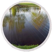 Grass On Both Sides With Water Between Round Beach Towel