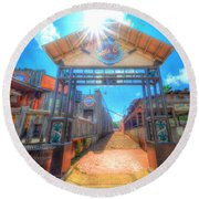 Bottle Cap Alley Round Beach Towel by David Morefield