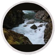 Bottom Of Silver Falls Round Beach Towel