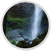 Bottom Of Watson Falls Round Beach Towel