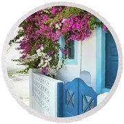 Bougainvillea In Santorini Island Round Beach Towel