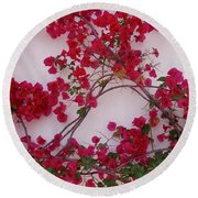 Bougainvillea Of Cascais, Portugal Round Beach Towel