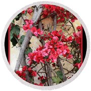 Bougainvillea On Mission Wall - Digital Painting Round Beach Towel