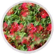 Bougainvillea Repeating Pattern Abstract I Round Beach Towel