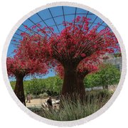 Bougainvilleas Tree Scultures Round Beach Towel