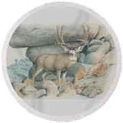 Boulder Buck  Round Beach Towel