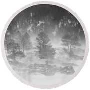 Boulder Canyon And Nederland Winter Landscape Round Beach Towel