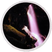 Boulder Cave Falls From The Side  Round Beach Towel