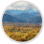 Boulder Colorado Autumn Scenic View Round Beach Towel