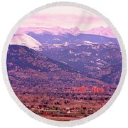Boulder Colorado Sunrise Panorama Round Beach Towel