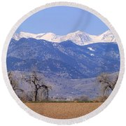 Boulder County Colorado Panorama Round Beach Towel