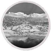 Boulder County Continental Divide Panorama Bw Round Beach Towel