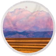 Boulder County Farm Fields At First Light Sunrise Round Beach Towel
