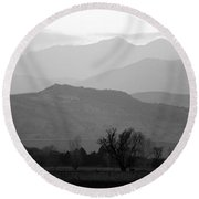Boulder County Foothills To The Rockies Bw Round Beach Towel