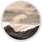 Boulder County Indian Peaks Sepia Image Round Beach Towel by James BO  Insogna