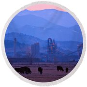 Boulder County Industry Meets Country Round Beach Towel