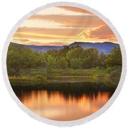 Boulder County Lake Sunset Landscape 06.26.2010 Round Beach Towel