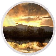 Boulder County Sunset Reflection Round Beach Towel