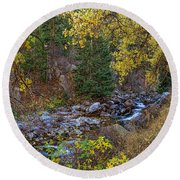 Boulder Creek Autumn View  Round Beach Towel
