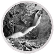 Boulder Falls Black And White   Round Beach Towel
