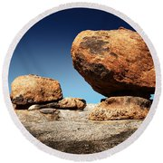 Boulder On Solid Rock Round Beach Towel