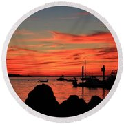 Rock Sunset Silhouette Round Beach Towel