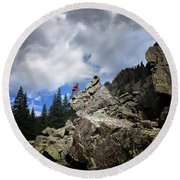 Bouldering On The Flint Creek Trail - Weminuche Wilderness Round Beach Towel