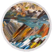 Boulders In The River Round Beach Towel